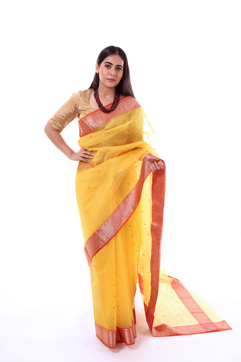 pure-hand-woven-yellow-chanderi-katan-silk-saree-with-meena-butis