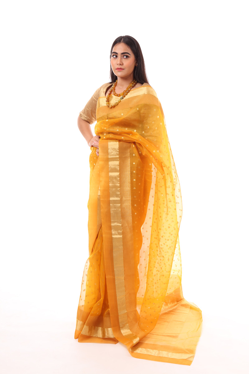 pure-hand-woven-mustard-chanderi-silk-saree-with-ghani-butis