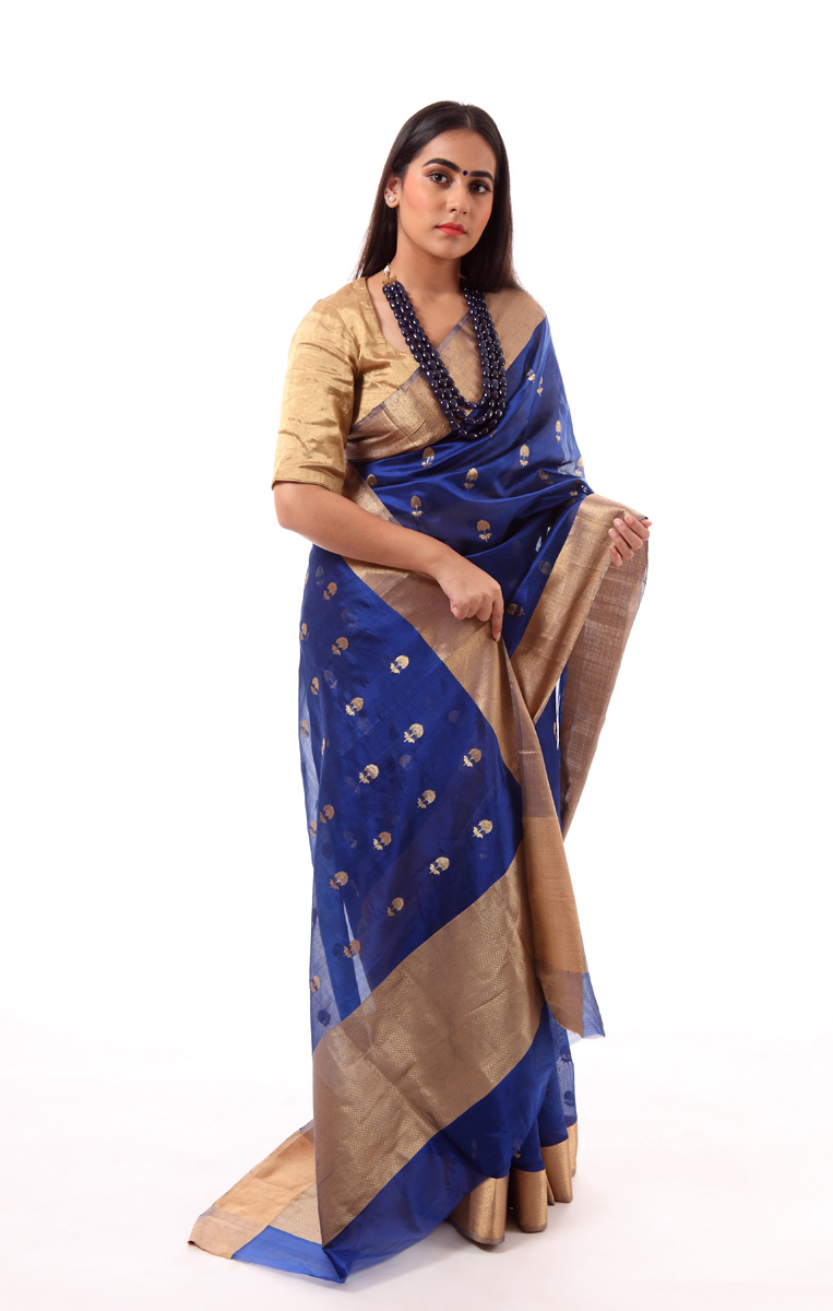 pure-hand-woven-royal-blue-chanderi-silk-saree-with-meena-butis