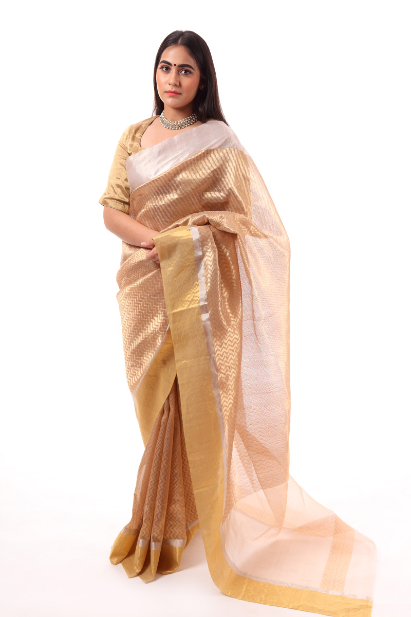 pure-hand-woven-gold-chanderi-katan-silk-saree-with-different-stripes