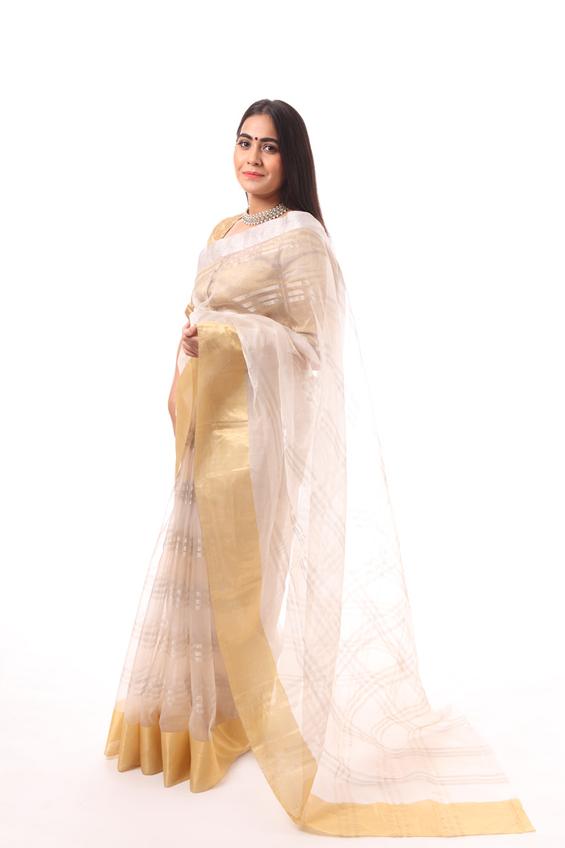 pure-hand-woven-beige-grey-chanderi-katan-silk-saree-with-silver-stripes