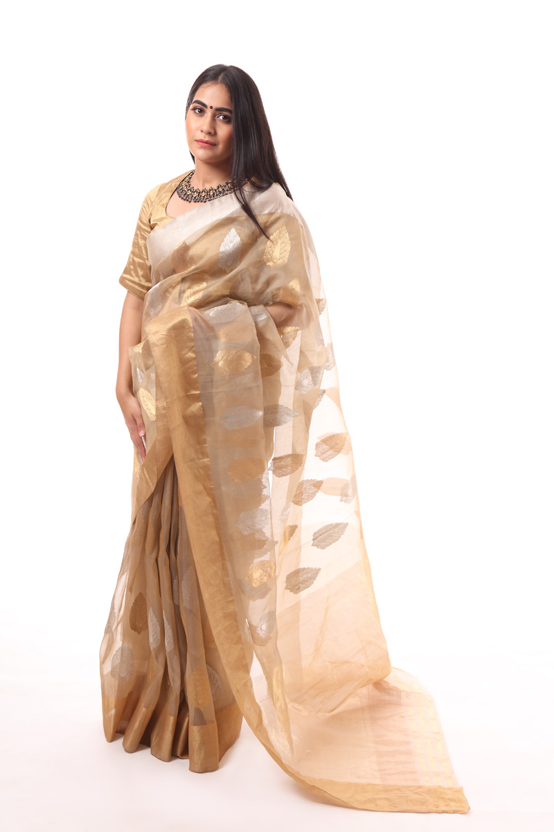 pure-hand-woven-beige-chanderi-katan-silk-saree-with-gold-silver-leaf-butis