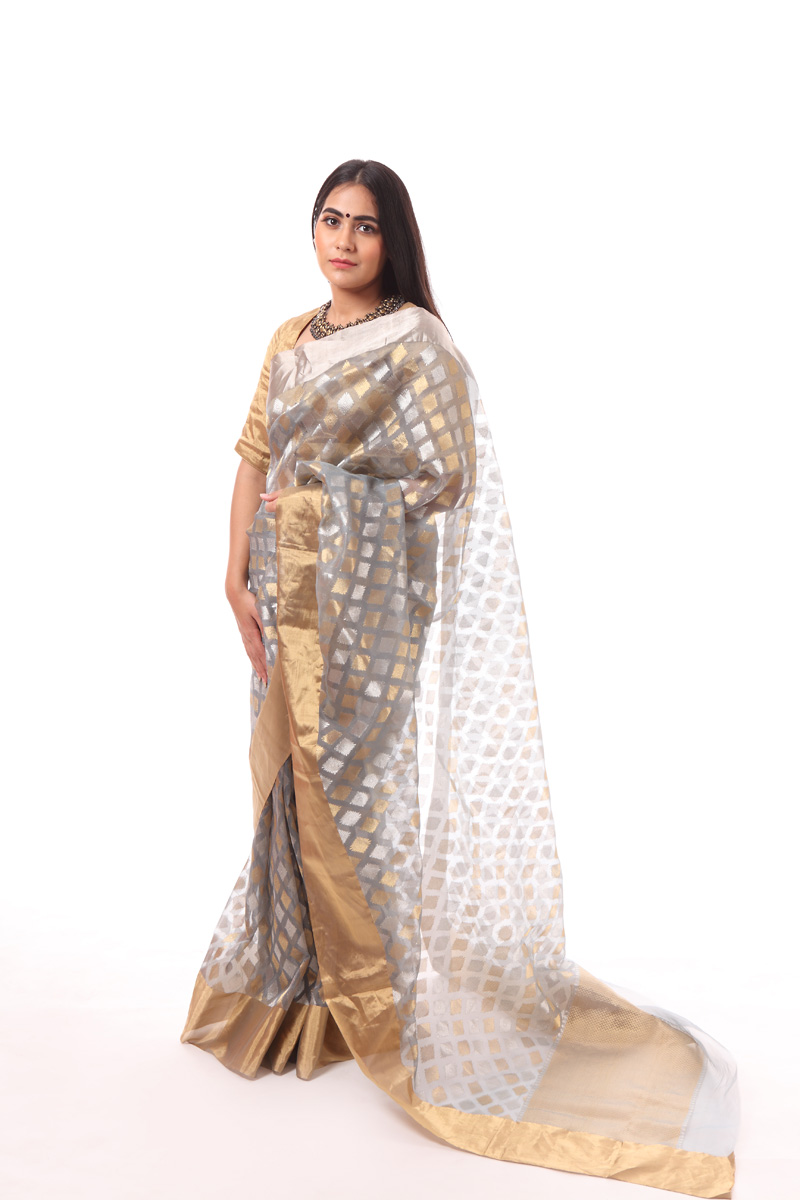 pure-hand-woven-blue-grey-chanderi-katan-silk-saree-with-diamond-butis