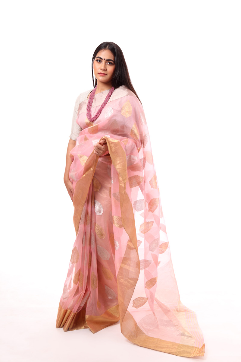 pure-hand-woven-pink-chanderi-katan-silk-saree-with-leaf-butis