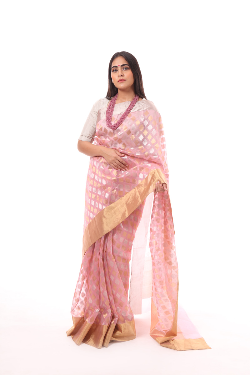 pure-hand-woven-pink-chanderi-katan-silk-saree-with-diamond-butis