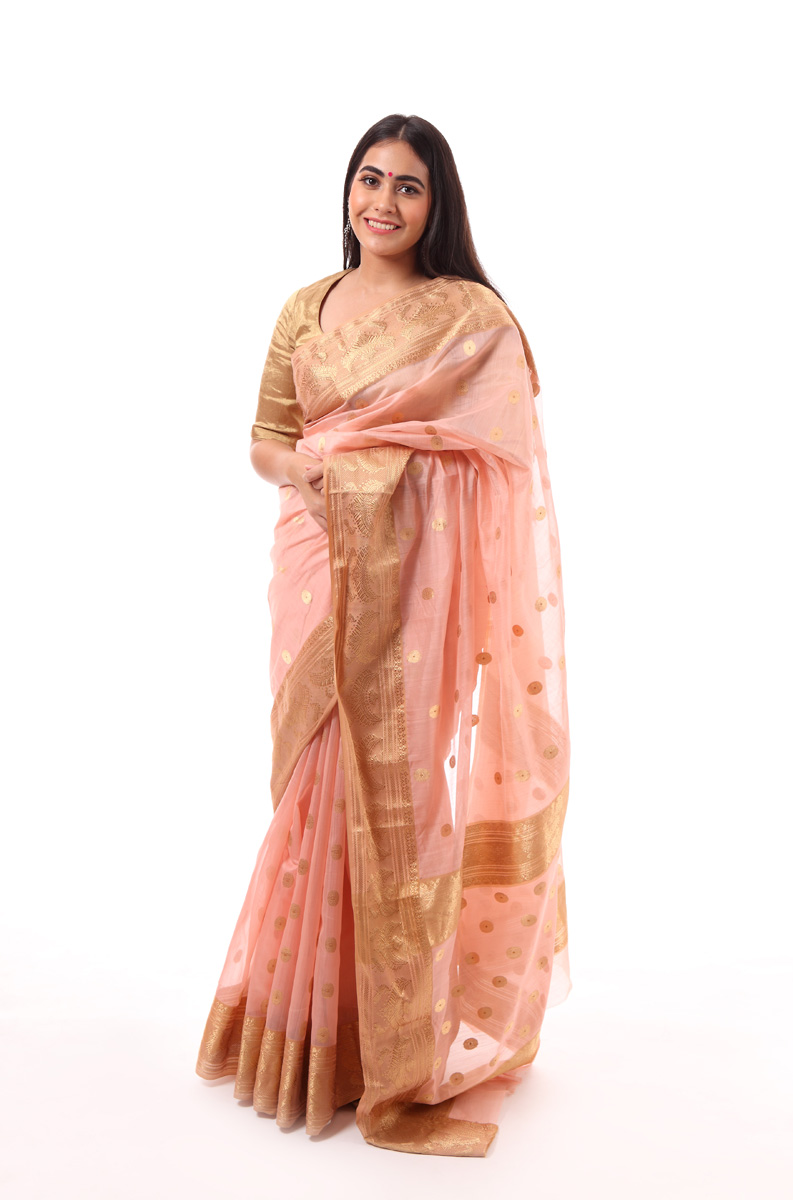 pure-hand-woven-peach-chanderi-silk-saree-with-necklace-border