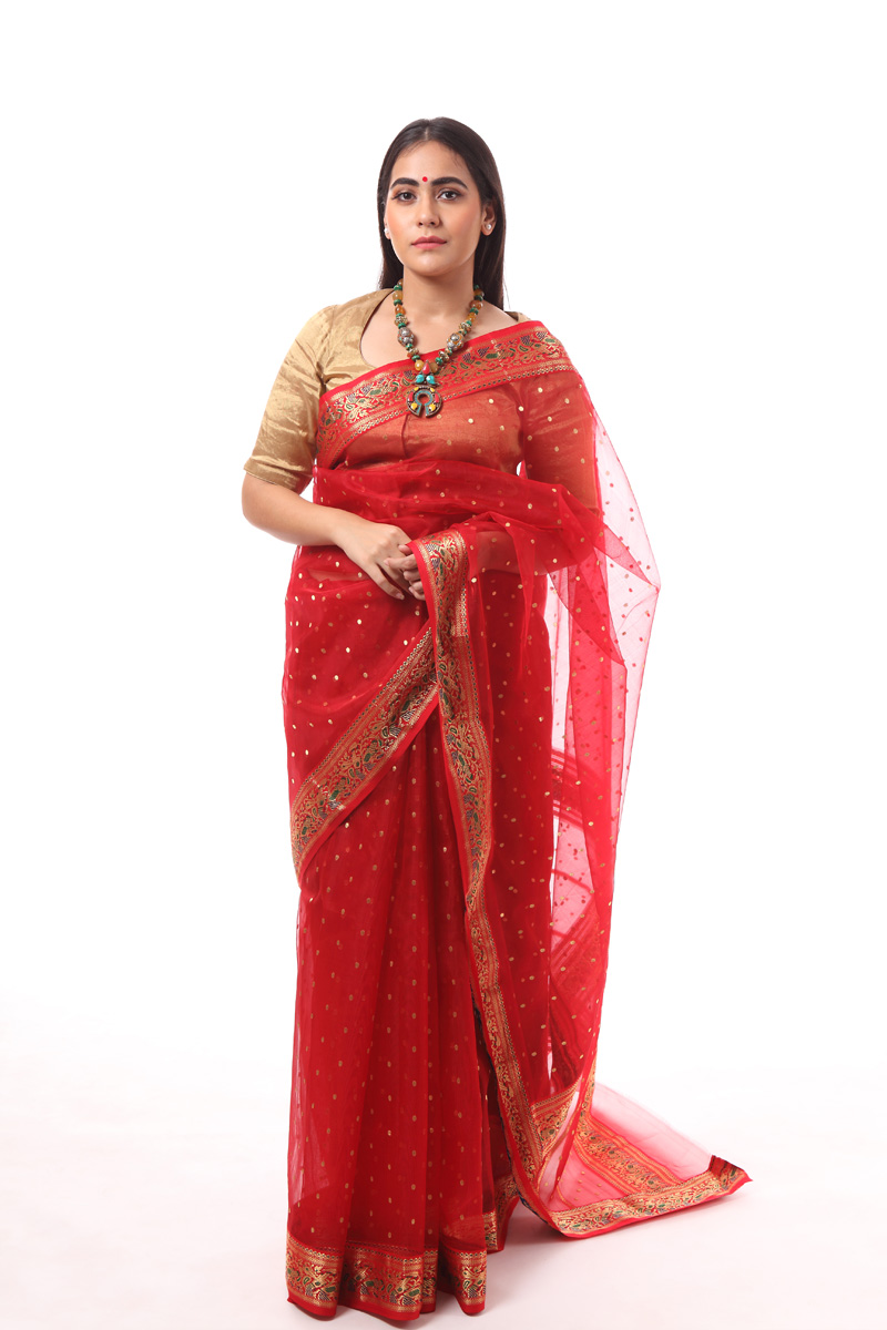 pure-hand-woven-red-chanderi-katan-silk-saree-with-mehndi-lage-hath-border