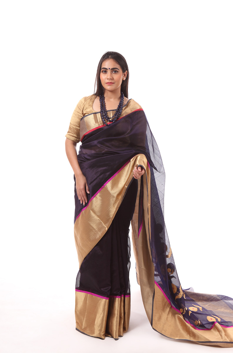 pure-hand-woven-dark-purple-chanderi-silk-dadidar-saree