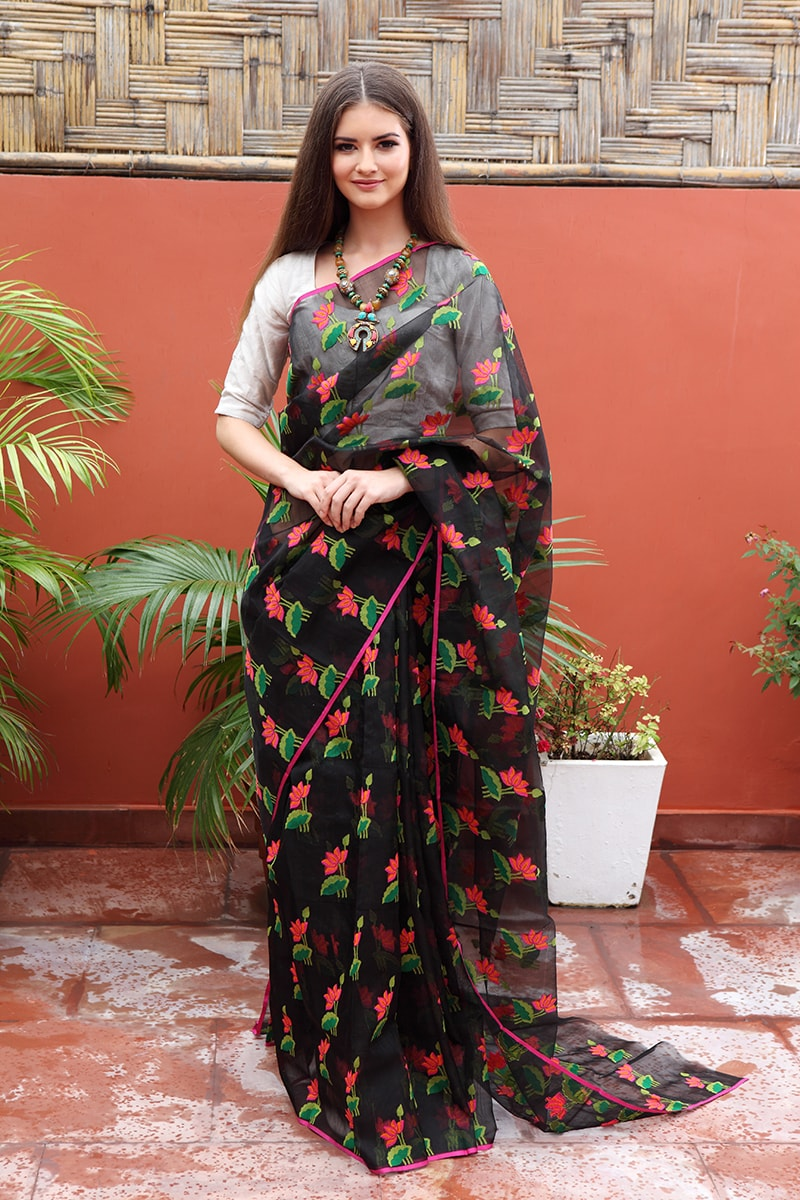 pure-hand-woven-black-chanderi-silk-saree-with-meena-eknaliye-butis