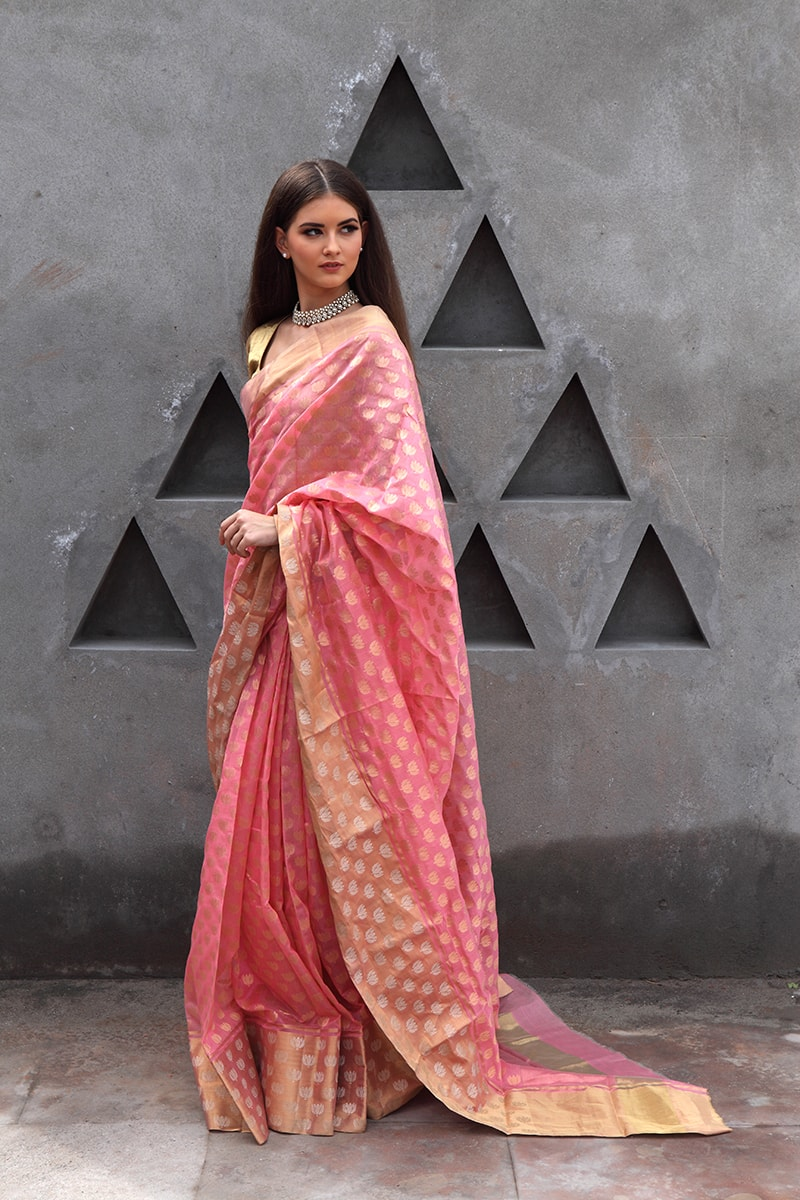 pure-hand-woven-pink-chanderi-silk-saree-with-all-over-mogra-butis