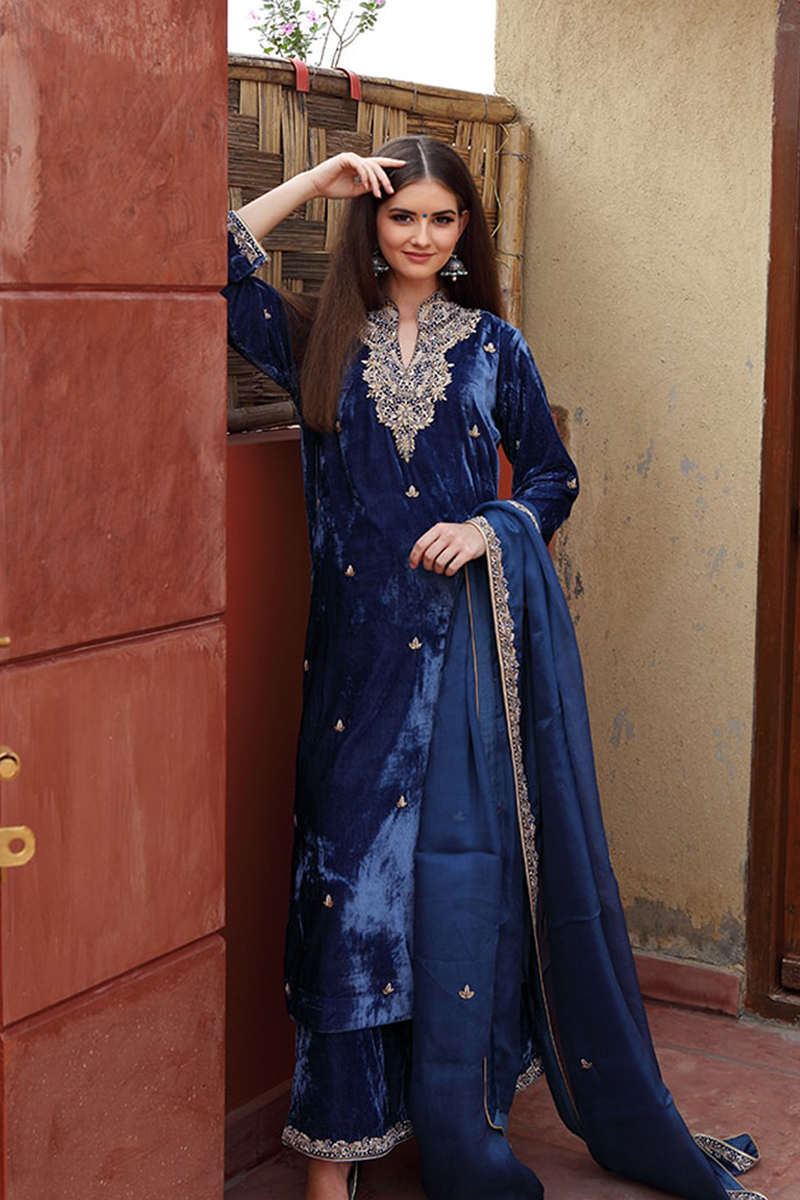 blue-coloured-pure-silk-velvet-kurta-farshi-suit-with-pure-silk-organza-dupatta
