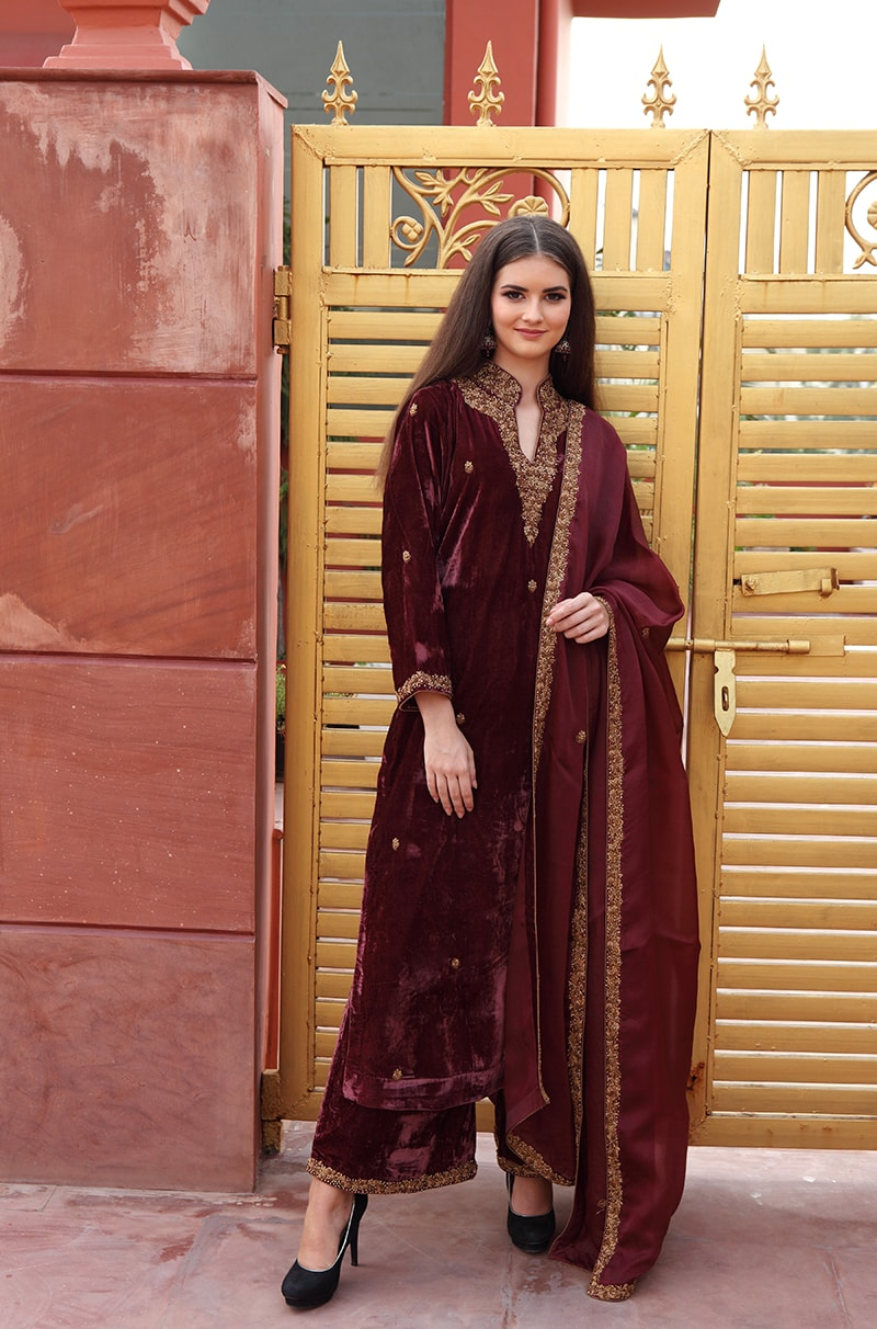 pure-silk-velvet-maroon-wine-kurta-farshi-suit-with-silk-organza-dupatta