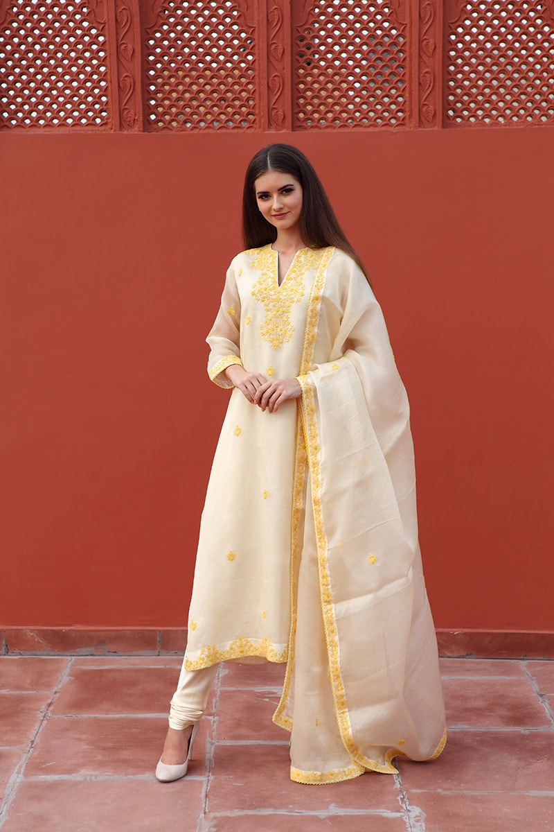 light-yellow-pure-silk-organza-suit-set