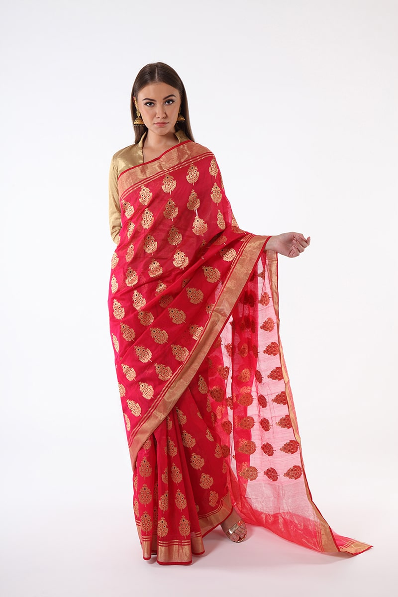 pure-hand-woven-red-pink-chanderi-silk-saree-with-all-over-flower-butis