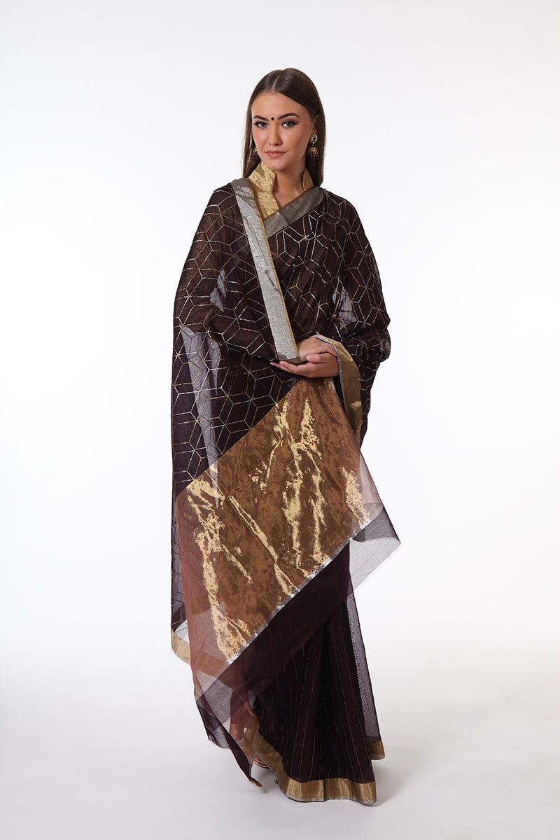 pure-hand-woven-coffee-brown-chanderi-silk-saree-with-all-over-geomatric-design