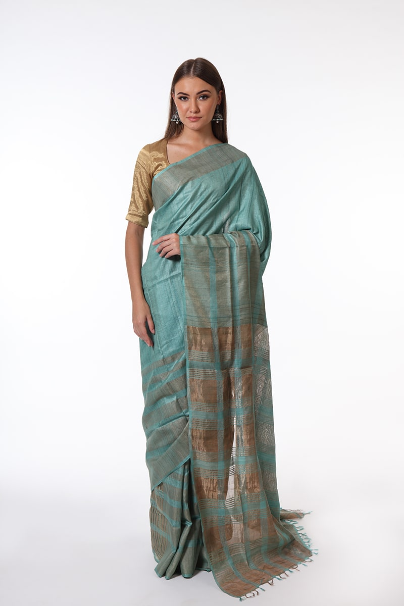 pure-hand-woven-blue-grey-bhagalpuri-tussar-silk-saree