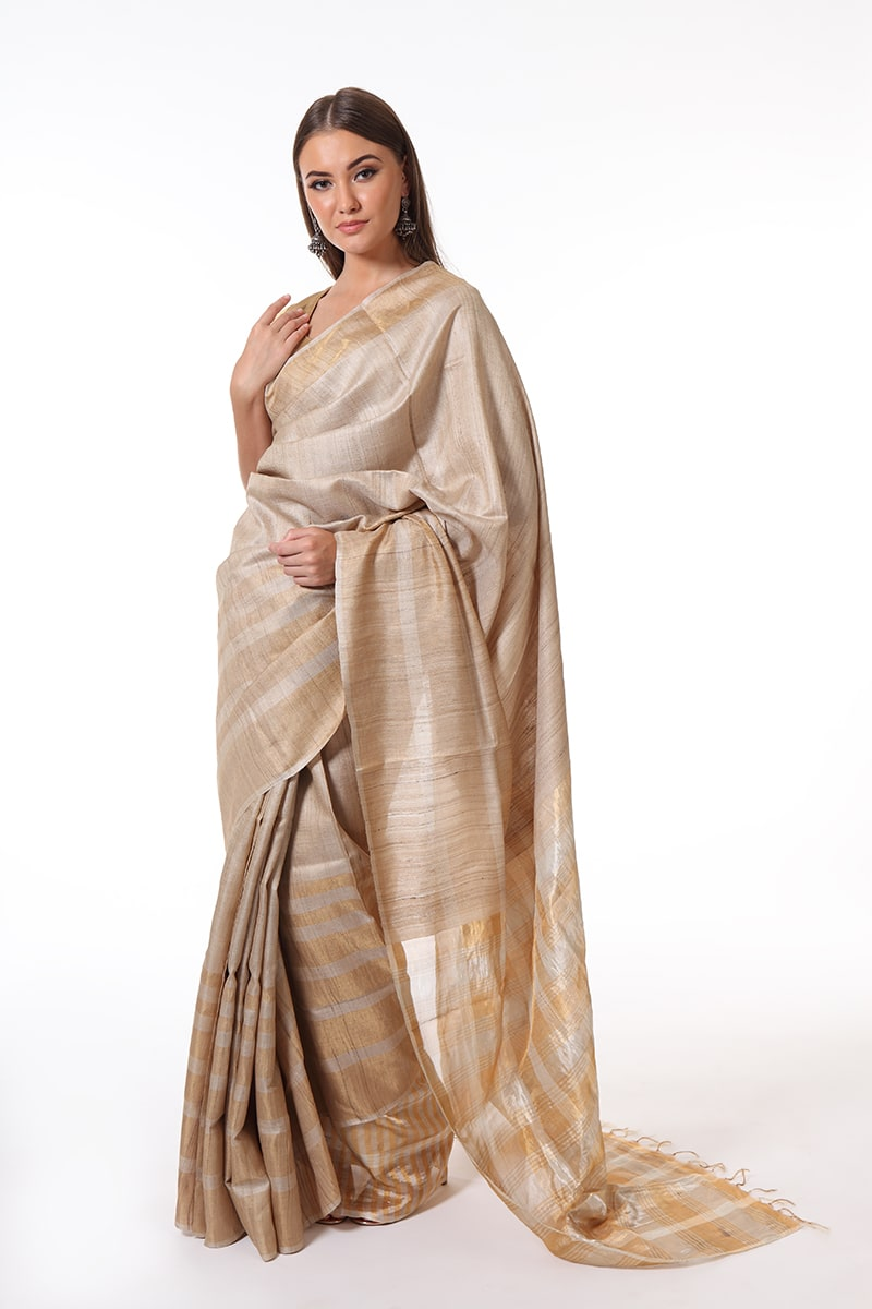 pure-hand-woven-tussar-silk-saree-with-gold-zari