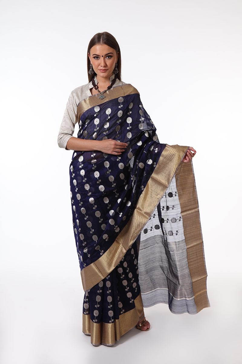 pure-hand-woven-navy-blue-chanderi-silk-saree-with-all-over-butis