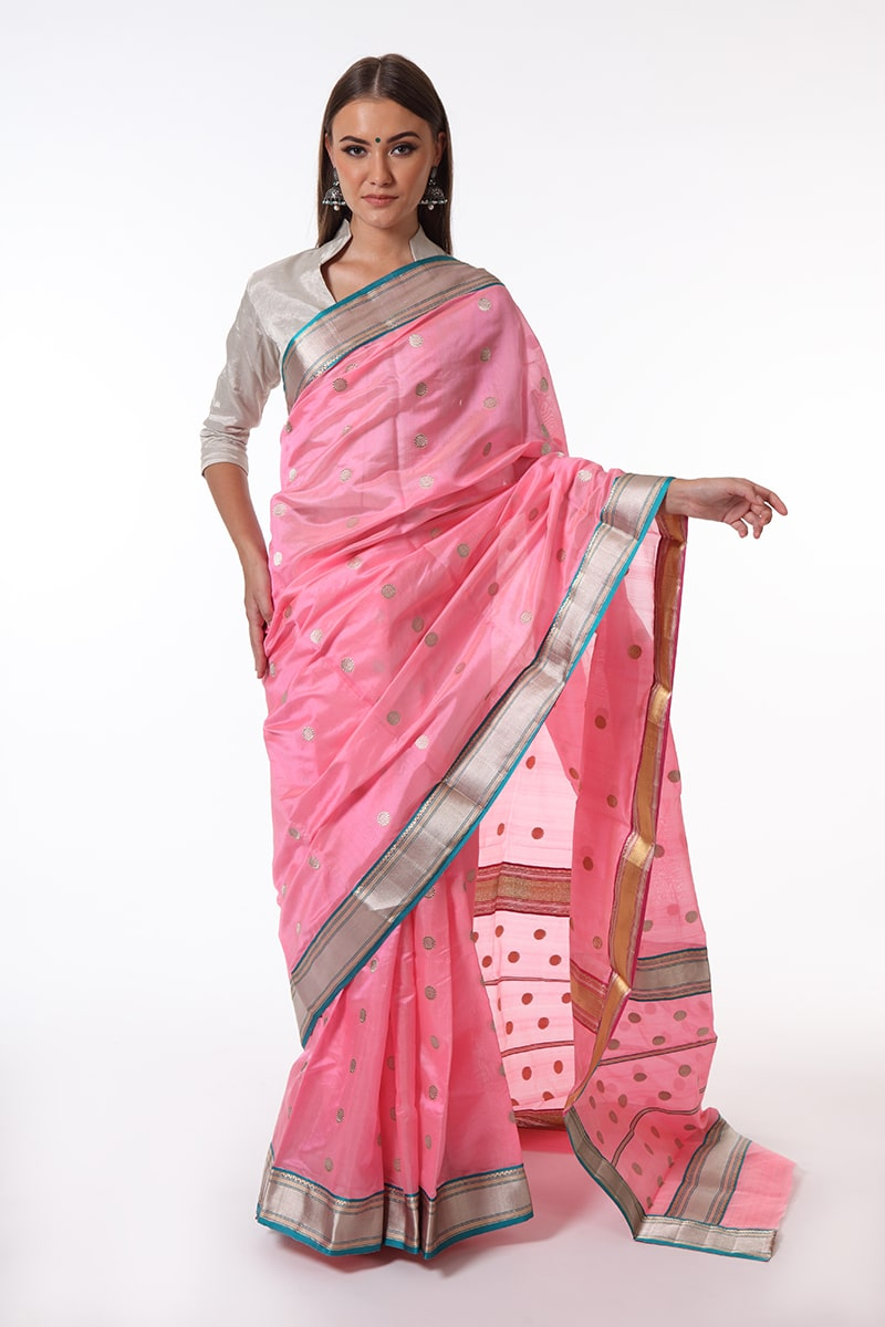 pure-hand-woven-pink-chanderi-silk-saree-with-all-over-eknaliye-butis-double-sided-border