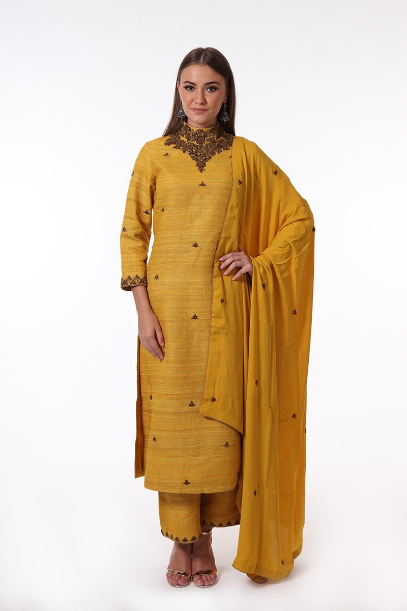 pure-hand-woven-mustard-yellow-ghicha-silk-suit-set