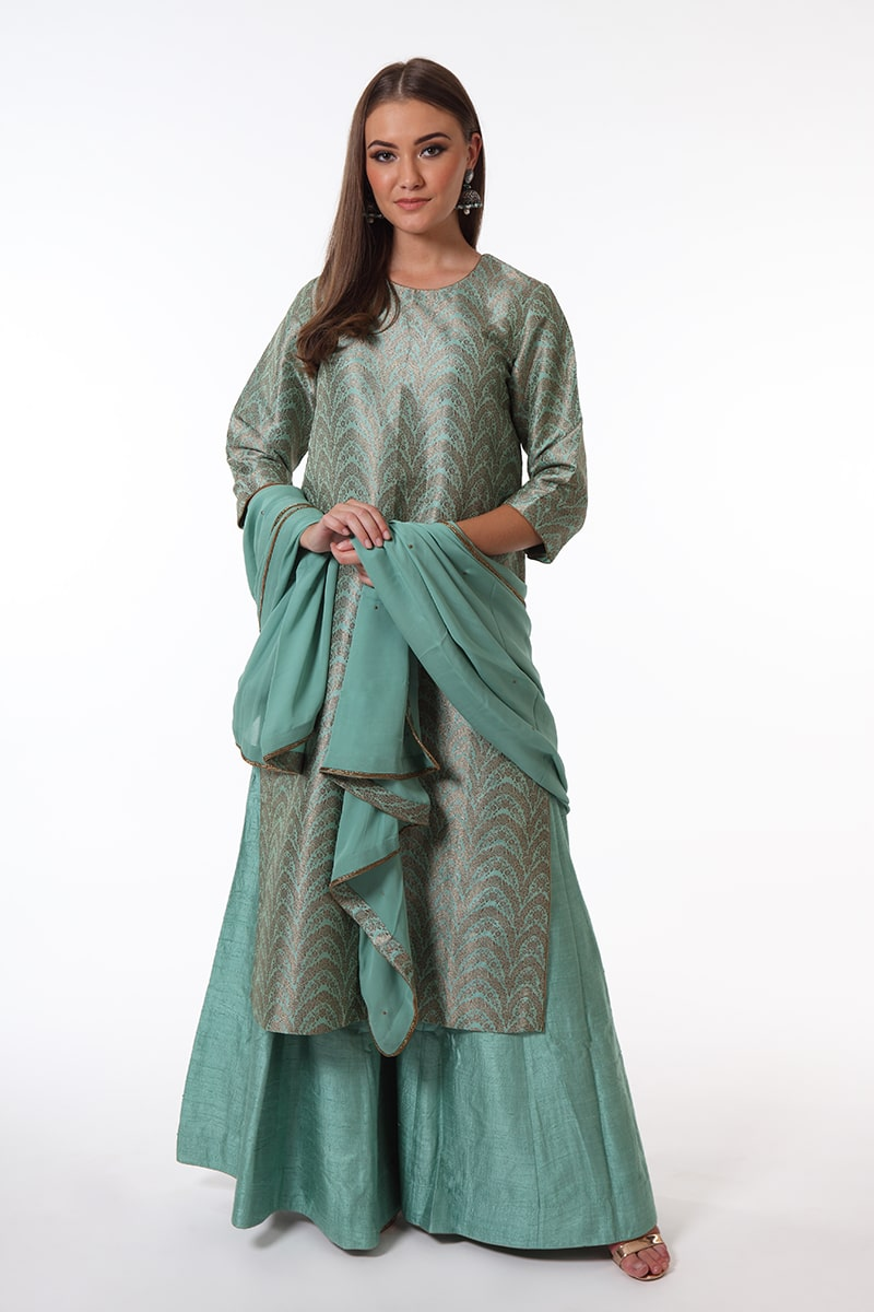 pure-hand-woven-blue-green-brocade-benarasi-kurta-suit-set