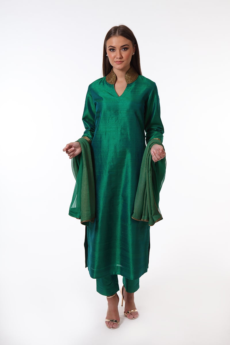 pure-hand-woven-dark-green-raw-silk-suit-set