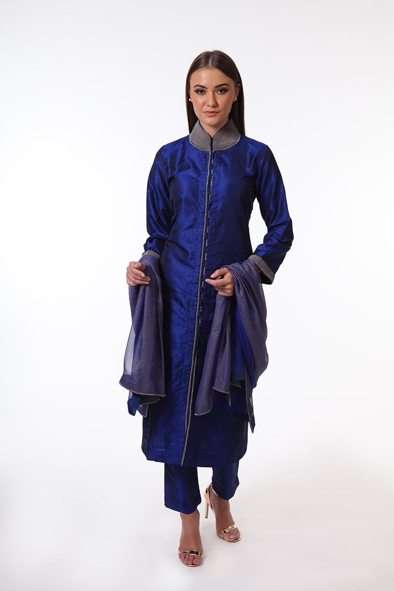 pure-hand-woven-dark-blue-raw-silk-suit-set