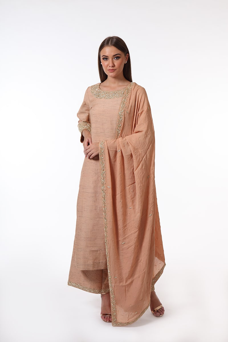 pure-hand-woven-peach-tussar-silk-suit-set