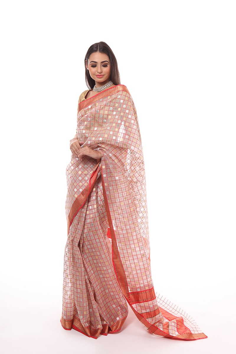 pure-hand-woven-red-white-chanderi-katan-silk-chaukri-saree-with-silver-gold-buti