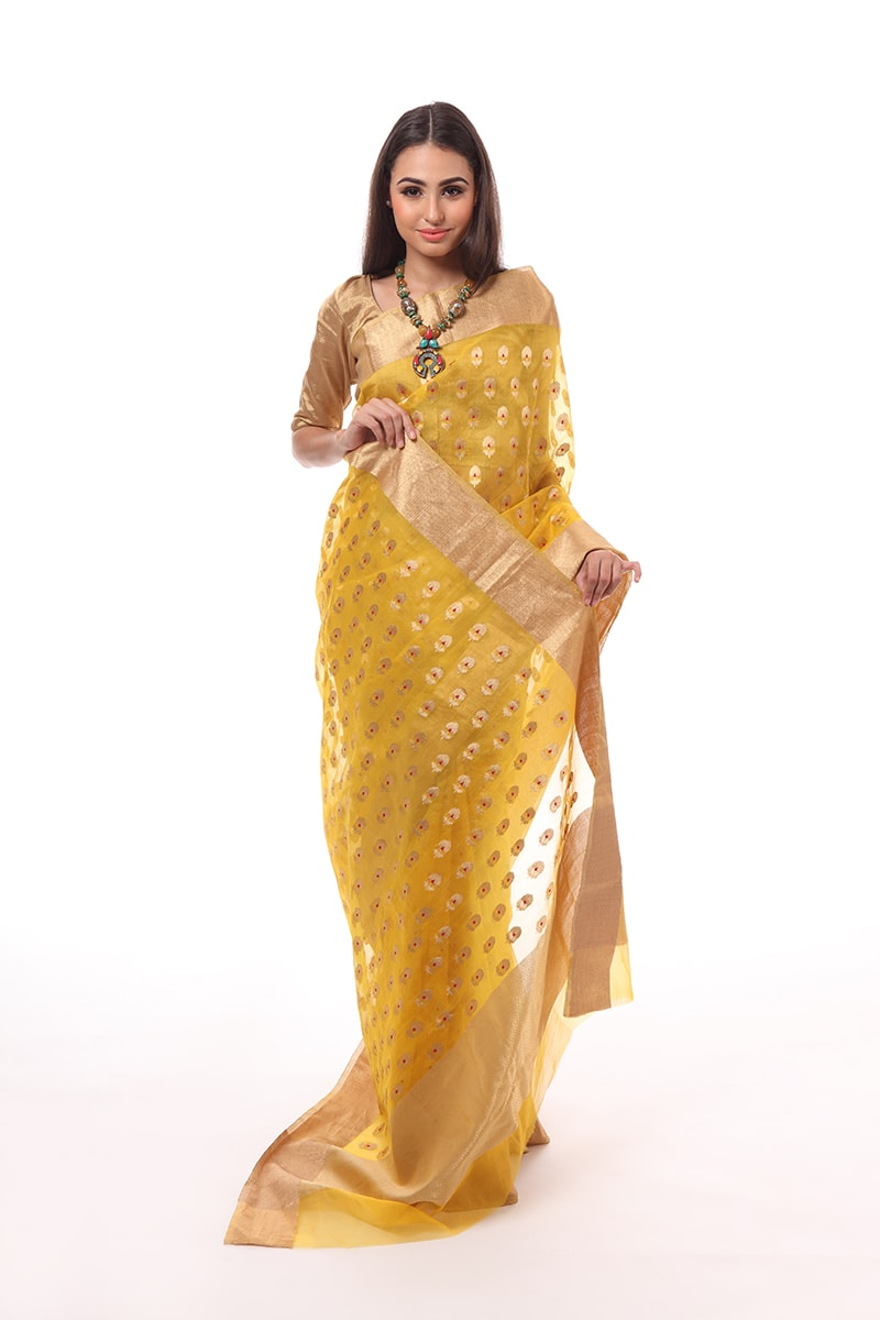 pure-hand-woven-chanderi-yellow-silk-saree-with-all-over-meena-butis
