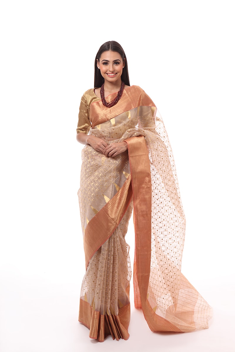 pure-hand-woven-beige-chanderi-katan-silk-saree-with-eknaliye-checks-and-jangla