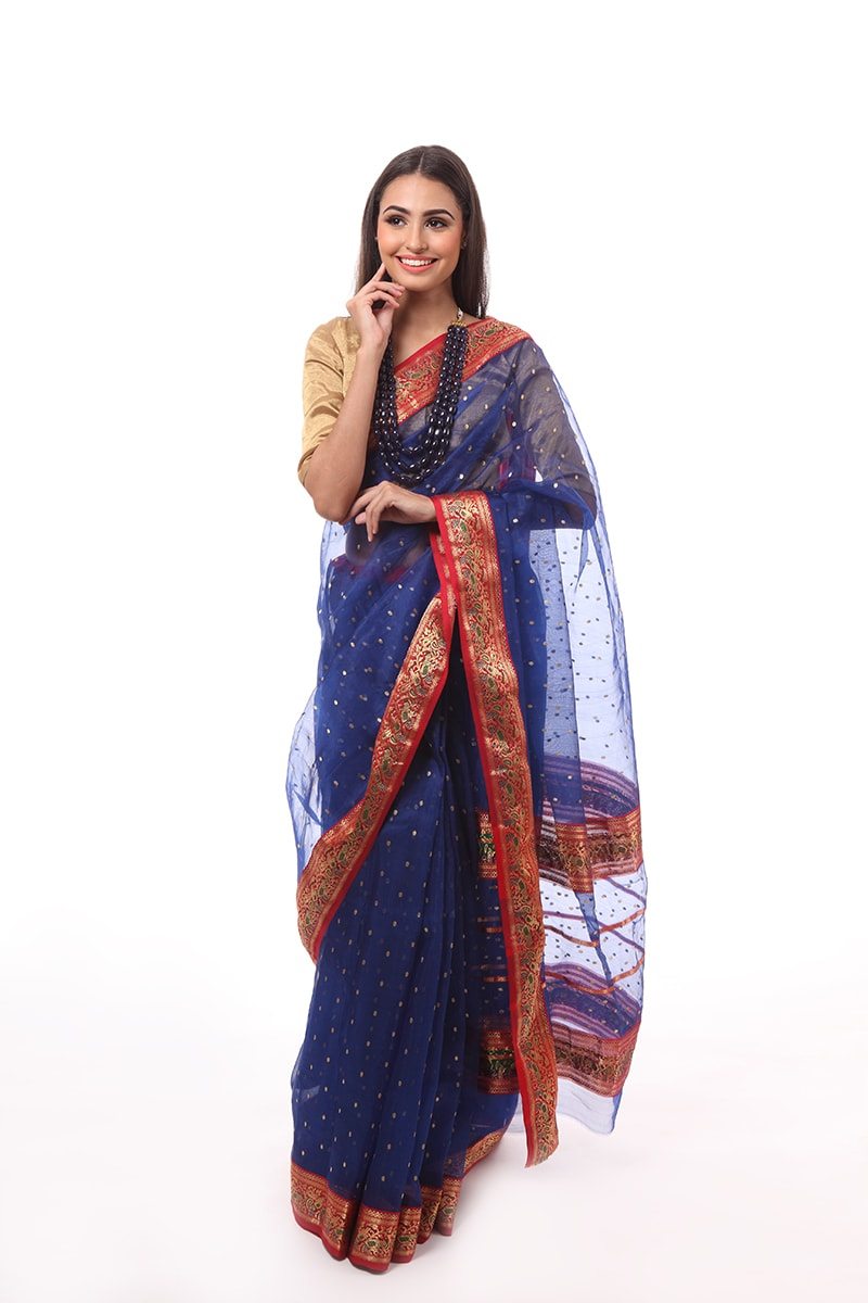 pure-hand-woven-chanderi-blue-silk-saree-with-red-border