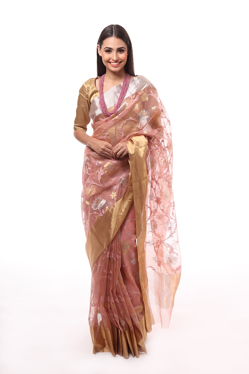 pure-hand-woven-chanderi-dusty-pink-katan-silk-saree-with-gold-silver-jangla