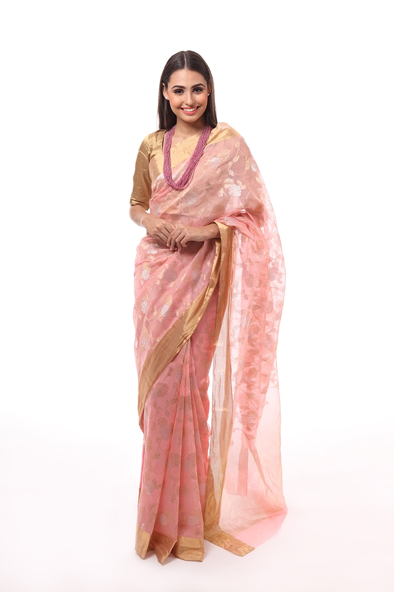 pure-hand-woven-chanderi-pink-katan-silk-saree-with-gold-silver-jangla