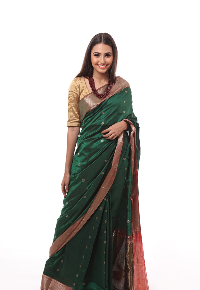 pure-hand-woven-green-chanderi-muslin-silk-saree