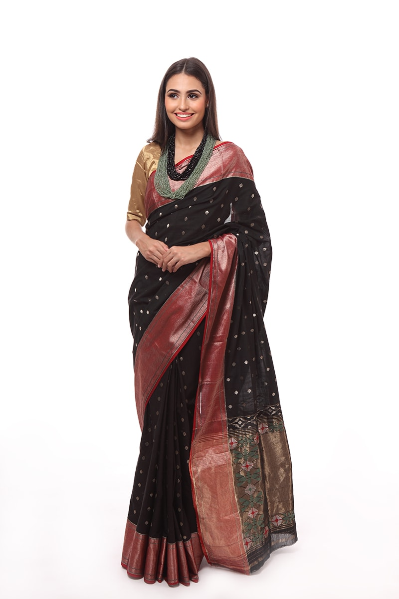 pure-hand-woven-black-chanderi-paithani-muslin-silk-saree