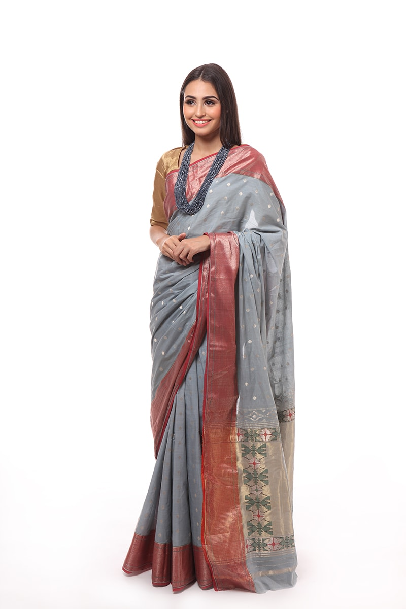 pure-hand-woven-chanderi-muslin-grey-blue-paithani-silk-saree
