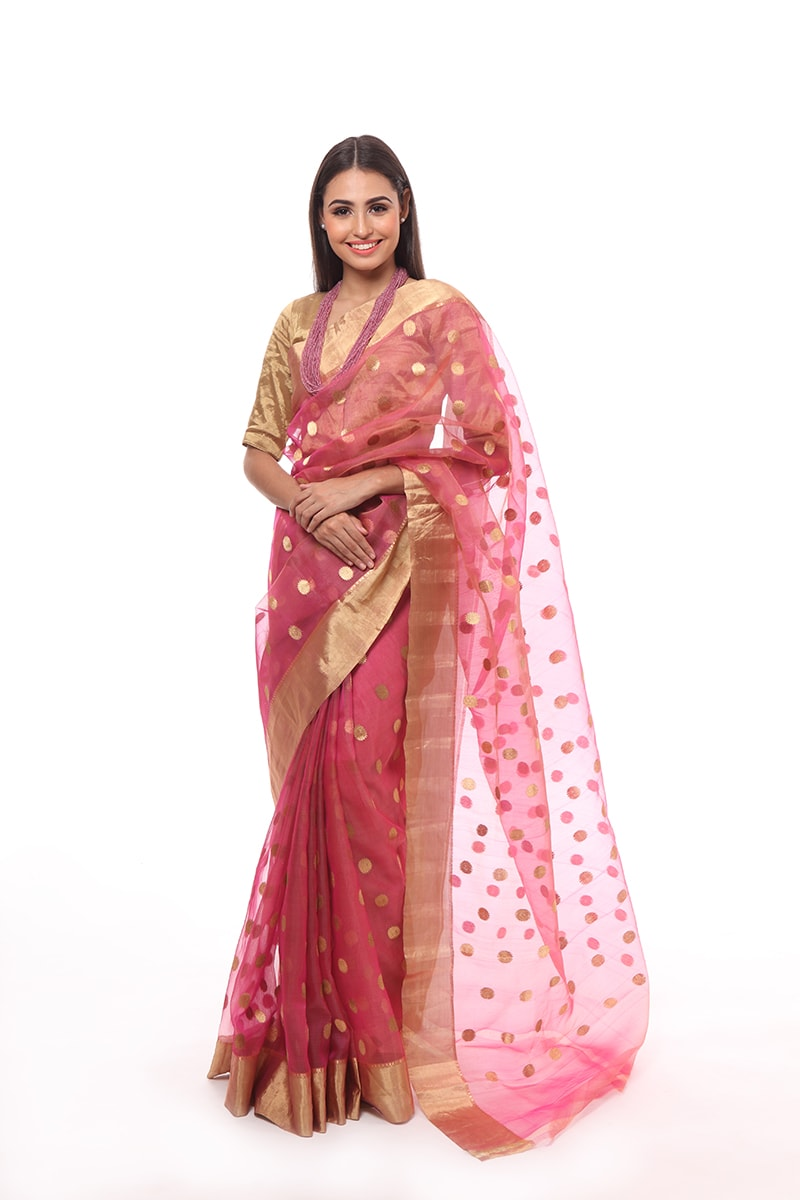 pure-hand-woven-pink-chanderi-katan-silk-saree-with-eknaliye-asharfi-butis