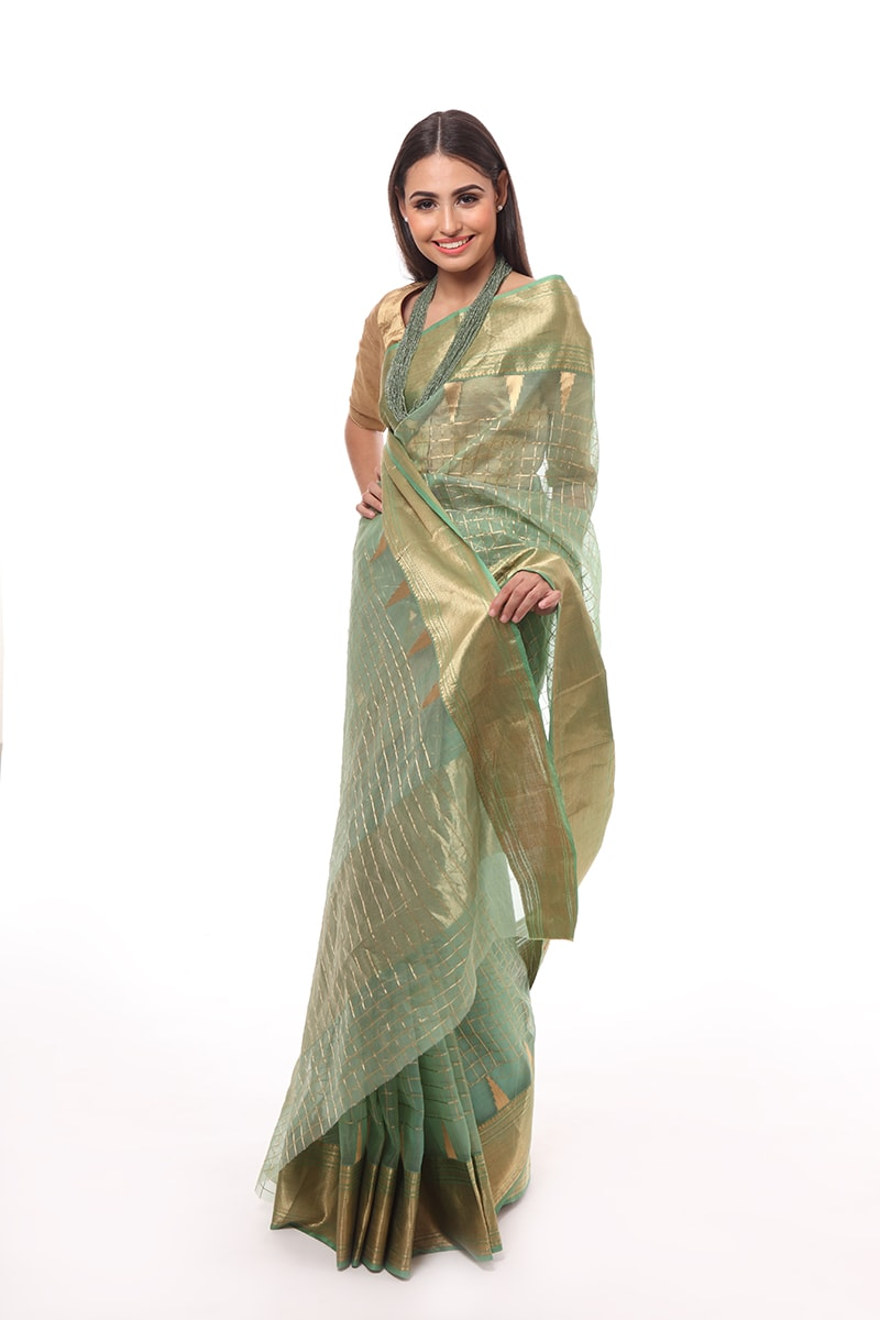 pure-hand-woven-green-chanderi-katan-silk-saree-with-temple-border