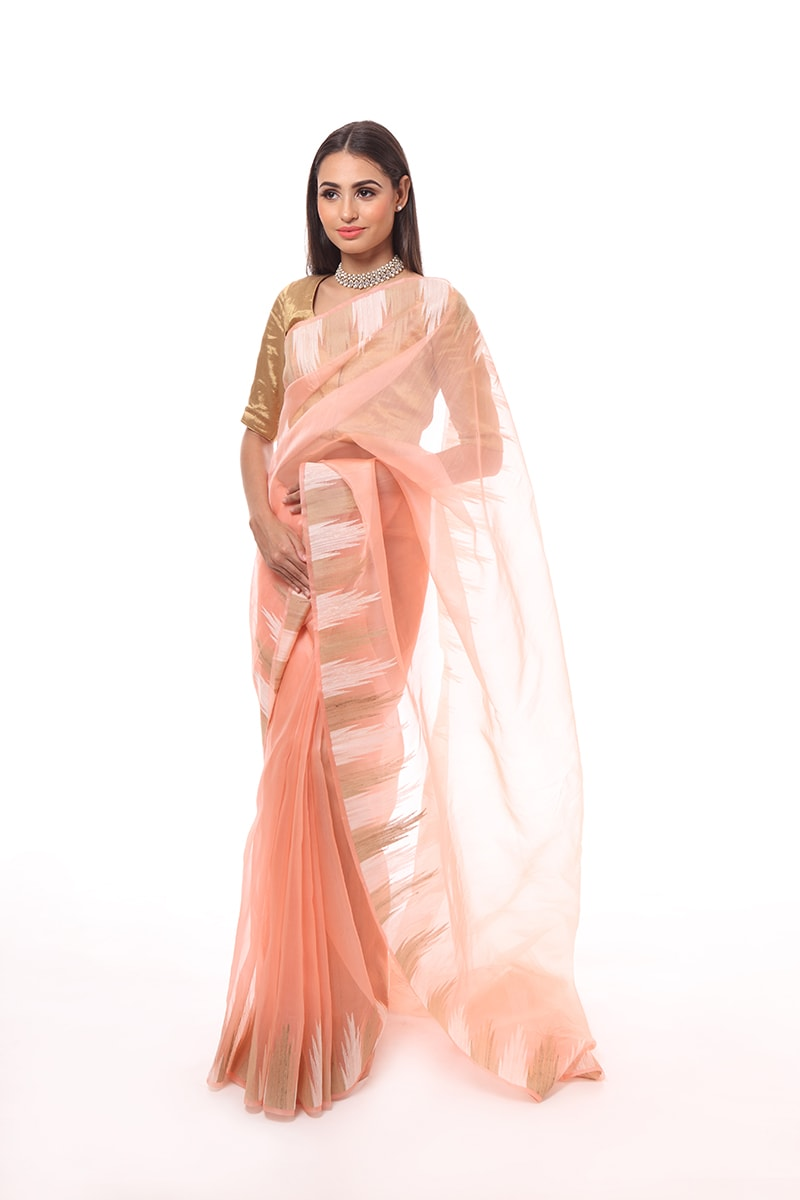 pure-hand-woven-peach-chanderi-katan-silk-saree-with-tussar-temple-border