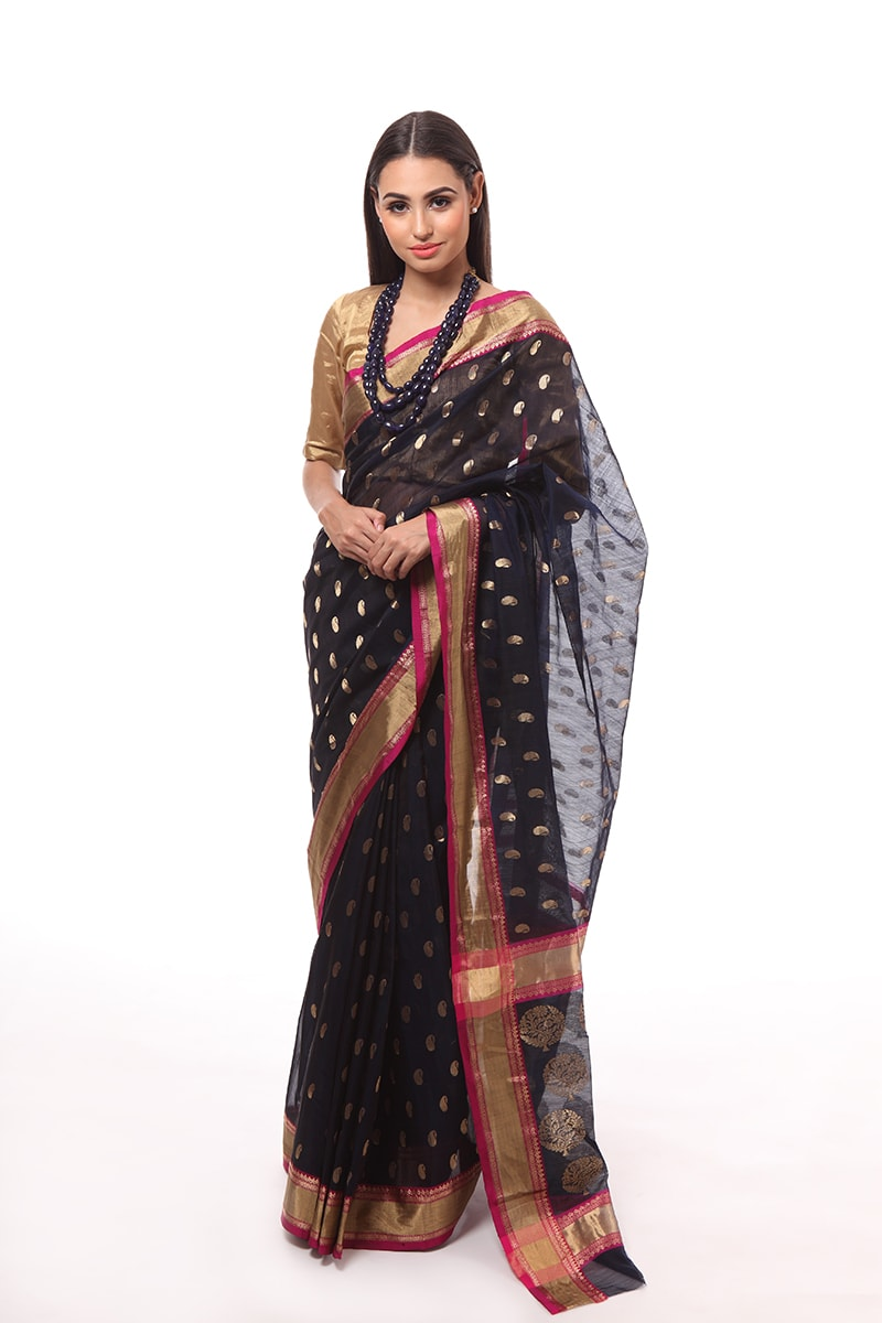 pure-hand-woven-navy-blue-chanderi-silk-saree-with-kairi-buti