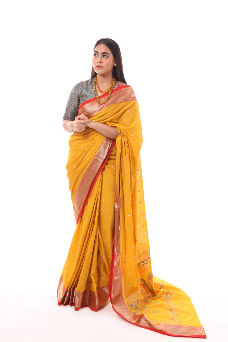 pure-hand-woven-mustard-yellow-chanderi-muslin-silk-saree