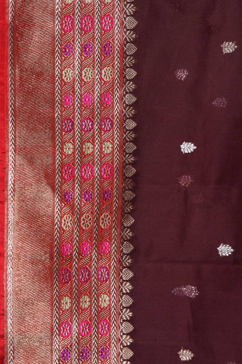 pure-hand-woven-benarasi-wine-coloured-kora-silk-kadhwa-meenakari-fabric