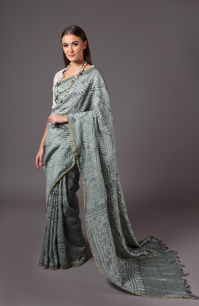 pure-hand-woven-grey-green-muga-silk-bandhej-saree