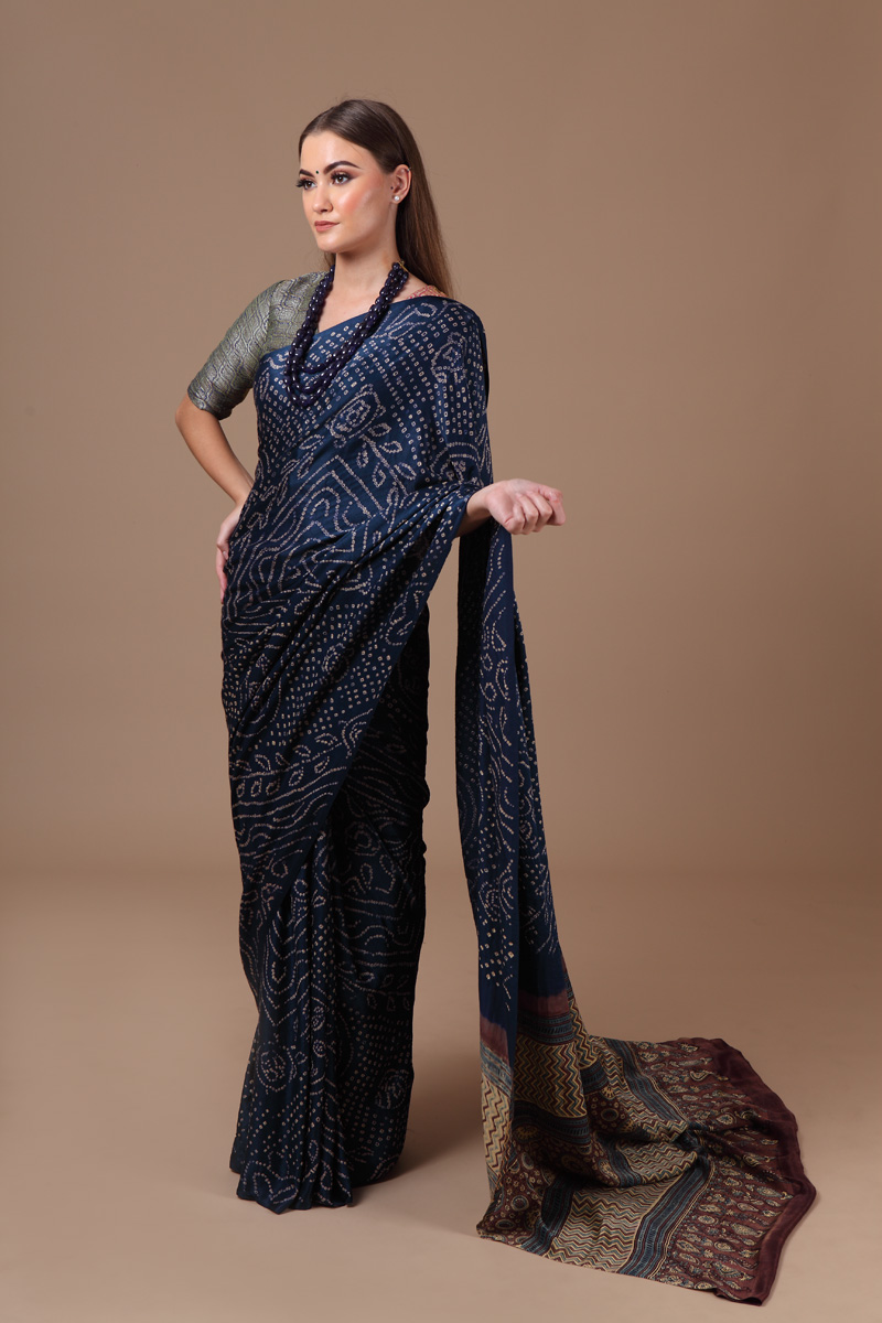 pure-gajji-silk-blue-brown-ajrakh-bandhej-saree
