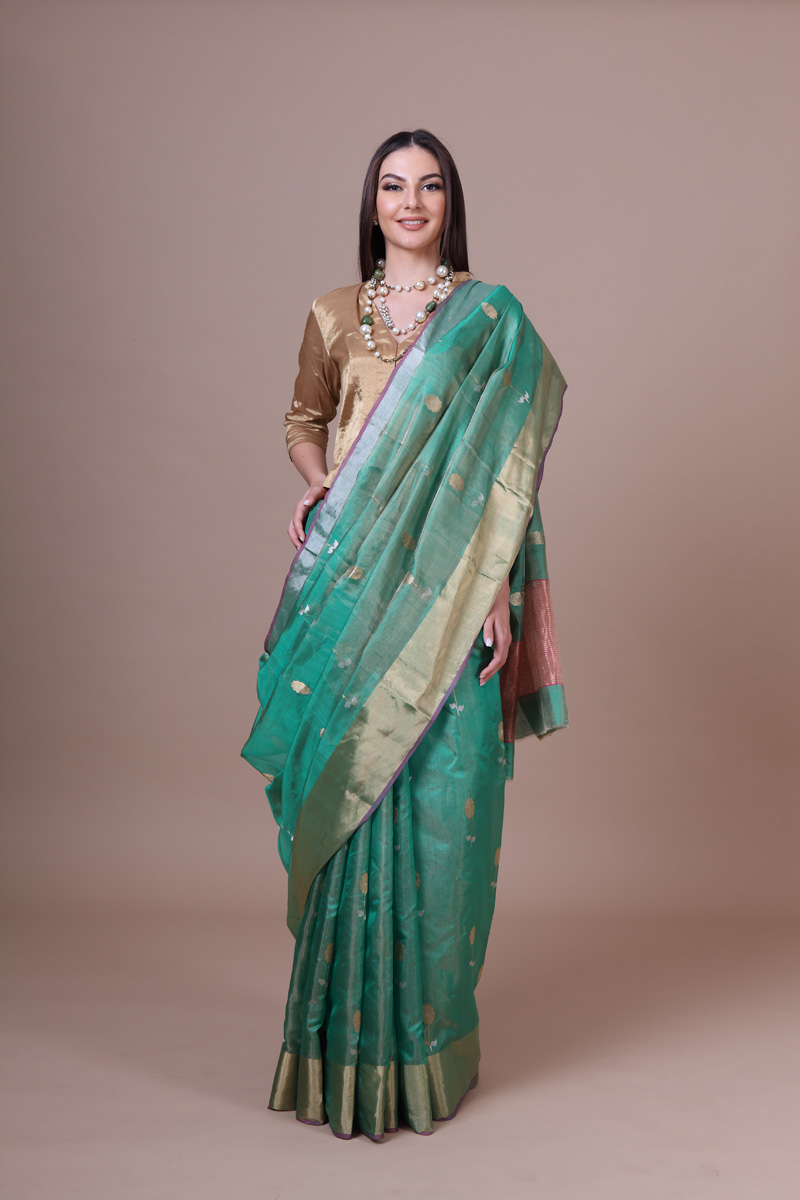 pure-hand-woven-coriander-green-chanderi-tissue-silk-saree-with-genda-phool-butis