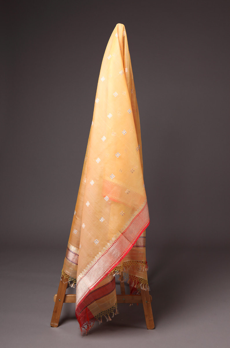 pure-hand-woven-benarasi-light-orange-kora-silk-kadhwa-meena-dupatta