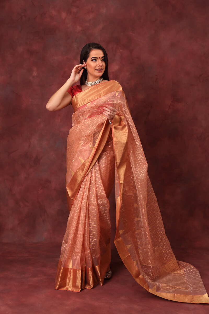 hand-woven-peach-pink-chanderi-pure-katan-silk-eknaliye-saree-with-all-over-checks-butis
