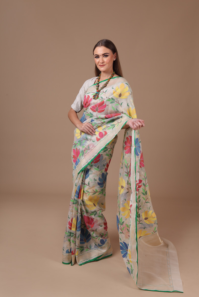 pure-hand-woven-benarasi-off-white-multi-coloured-real-zari-kora-silk-jamdani-saree