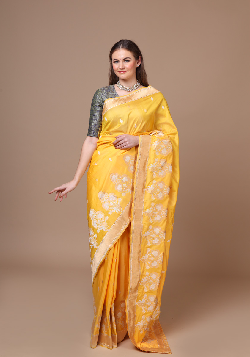 pure-hand-woven-benarasi-yellow-katan-silk-kadhwa-saree